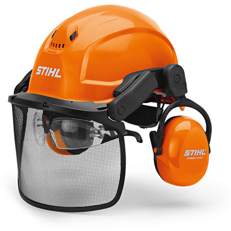 orange STIHL Helmset ADVANCE mit Metallgitter